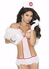 Nurse Costume Lingerie Set Women White Red Teddy Bodysuit Cupless Hat Role Play