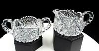 "AMERICAN BRILLIANT CUT CRYSTAL HOBSTAR & CROSSHATCH 2 5/8"" CREAMER & SUGAR"