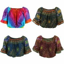 Peacock Print Bardot Top Siesta Frill Blouse Off shoulder Party Cropped