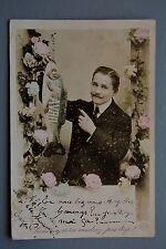 R&L Postcard: Vintage French Gentleman Handlebar Moustache Holding Large Fish
