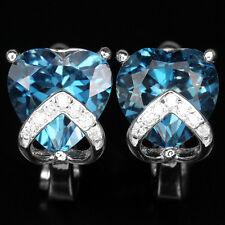 Sterling Silver 925 Stunning Genuine Heart Faceted London Blue Topaz Earrings