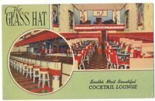 SHREVEPORT LA - The GLASS HAT COCKTAIL LOUNGE - 1944 DECO Linen Postcard