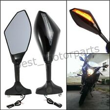 BLACK MOTORCYCLE MIRRORS LED TURN FOR 1998-2007 SUZUKI Katana 600 750 Hayabusa