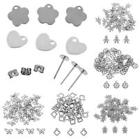50pcs Stainless Steel Silver Charm Pendants Beads DIY Jewelry Findings Making