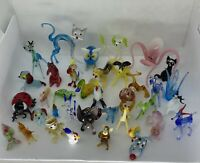 Huge Lot Miniature Glass Figurines Animals Hand Blown Ukraine Japan VTG Bone