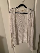 Hollister White Knit Cardigan L