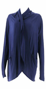 Lisa Rinna Collection Open Front Cocoon Cardigan Navy L NEW A309112