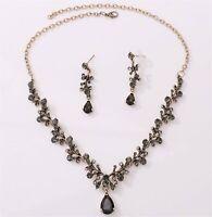Women Retro slim Simple Black Crystal Bronze Halloween Necklace Earrings Set