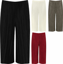 New Women Pleated Wide Leg Stretchy Culotte Elasticated Cropped Trouser UK 12-30