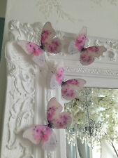 Butterflies Shabby Chic Pink Cabbage Rose 3D  Wedding Girls Bedroom Furniture 4