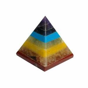Natural 7 Chakra Pyramid Crystal Stone for Reiki Healing 20-25 mm