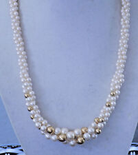 """Vintage Napier Faux Pearl 3-Strand Twisted Necklace w/Gold tone Beads 18"""" (51)"""