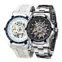 Black Dial Men Skeleton Stainless Steel Self-winding Mechanical Sport Watch