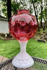 "RARE Fenton Cranberry Coin Dot Glass Fairy Lamp Light 9""T Milk Glass Pedestal"