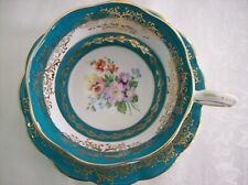 ROYAL STANDARD Cup & Saucer Teal Bands with Bouquets & Lots of Gold - 1579