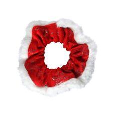 Novelty Christmas Red Velvet Snowflake White Fur Hair Scrunchie Bobble Xmas