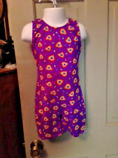 Girls Sz 4 - 5 4/5 Purple Gymnastic Dance Unitard w Multi Color Hearts