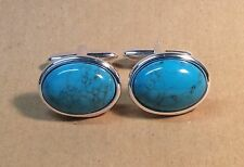 Turquoise Magnesite Oval Cufflinks, Silver Plated.