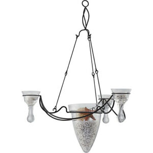 Hanging Candle Pendant Iron Metal Crystal Glass 3 Black Arm Ceiling Island Light