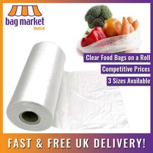 Natural Clear HD Polythene Food Bags On A Roll   Fruit/Veg/Meat/Butcher/Sandwich