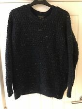 Topshop Knitted Jumper Size 4 Navy Blue Speckled Oversized