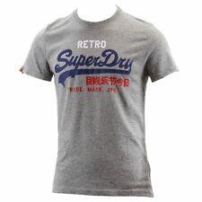 Superdry Men's Vintage Logo Retro Grey Marl Crew Neck Short Sleeve T-Shirt Sz: L