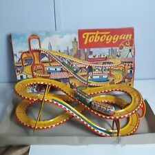 TECHNOFIX TOBOGGAN West Germany Tin Track w/ box and 2 Wind Up Trolleys