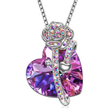 OCEANS HEART Valentines Gift Necklace Pendant w Authentic CRYSTAL