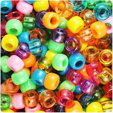 500 Party Time Carnival Mix 9x6mm Barrel Pony Beads Made in the USA