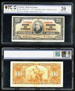 Canada 🇨🇦 1937  100 $ DOLLARS P 64b RARE ! PCGS 20 VF BANKNOTE