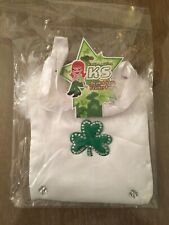 Kayla Star Beaded satin shamrock feather white green purse bag St Patricks Day
