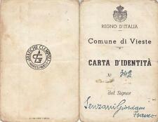 C291) REGNO D'ITALIA, CARTA DI IDENTITA' DEL COMUNE DI VIESTE.
