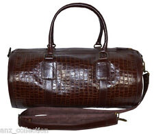 Brown Duffle Barrel Weekend Holdall Sports Travel Gym Croc Print Leather Bag