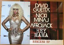 "DAVID GUETTA,NICKI MINAJ,AFRO JACK,HEY MAMA,12"" EP REMIX+HAND SIGNED PHOTO,COA.B"