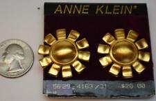 New Original Card Old Stock ANNE KLEIN Goldtone Matte Shape Clip-On Earrings