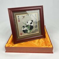 """Chinese Shu Brocade Framed Silk Panda Picture 8.5""""X8.5"""" Collectibles Home Décor"""