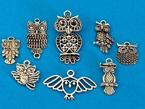Tibetan Alloy OWLS Antique Silver Charms Wise Owl Teacher Hoot Barn