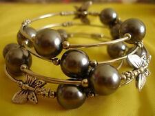 Chocolate Brown Shell Pearl Tibetan Silver Butterfly Bangle Bracelet