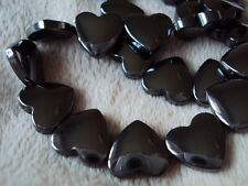 "Hematite Heart Beads 13mm x 12mm. 16"" Strand.  Approx 34 Beads. Non Magnetic."