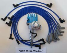 FORD 351W (351 Windsor) BLUE Small Cap HEI Distributor and 8mm SPARK PLUG WIRES