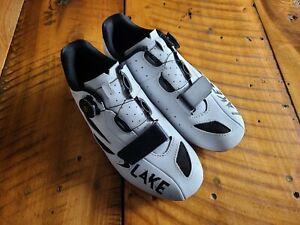 Lake Cx218 White Carbon Boa Road Cycling Shoes Size 42.5 Euro 8.5 US Men's