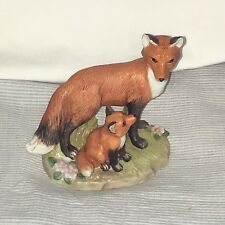 Vintage Homco Porcelain Mama Baby Red Foxes Figurine Mother Pup on Grass EUC