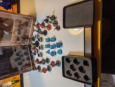 Blue Cat Eye Semi-Precious Dice Set with Kraken Logo dungeons and dragons 8pc