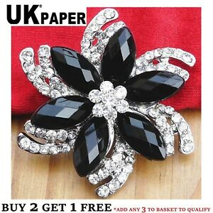 NEW LARGE ELEGANT SILVER DIAMANTE RHINESTONE CRYSTAL FLOWER BROOCH FREE GIFT UK