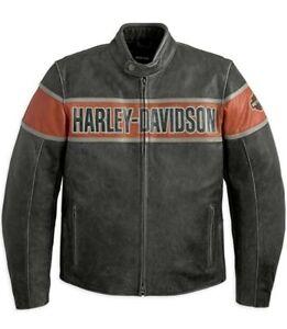 Men Real Cowhide HD Harley Davidson Victory Lane Motorcycle Biker Leather Jacket