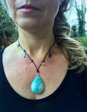STERLING SILVER GREEN GEMSTONE PENDANT NECKLACE AMAZONITE HANDMADE JEWELRY GIFT