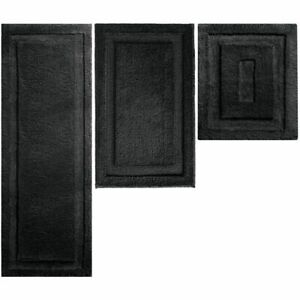 mDesign Soft Microfiber Polyester Bathroom Spa Mat Rugs/Runner, Set of 3 - Black