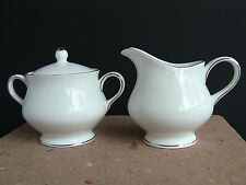 Wedgwood Silver Ermine White Creamer and Sugar with Lid