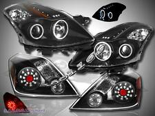 FIT 08 09 ALTIMA CCFL HALO LED PROJECTOR HEADLIGHTS BLACK + LED TAIL LIGHTS