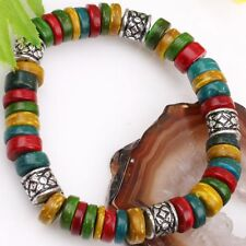 Multicolor Coconut Shell Coin Tibet Drum Beads Bracelet